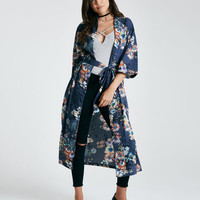 Belted Floral Print Duster Kimono | Wet Seal