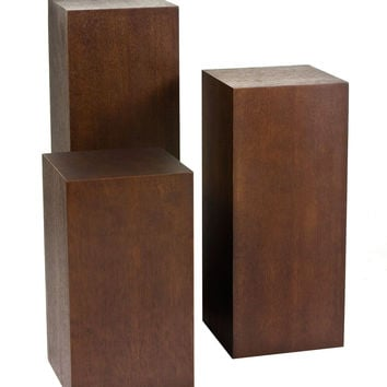 Pangea Home Wood Pedestal Set (Set of 3) - Espresso