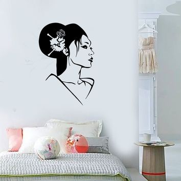 Wall Stickers Vinyl Decal Geisha Oriental Japan Sexy Girl Beautiful Woman Unique Gift (ig1605)