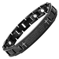 Willis Judd Lords Prayer in English Men's Black Titanium Magnetic Bracelet Adjustable