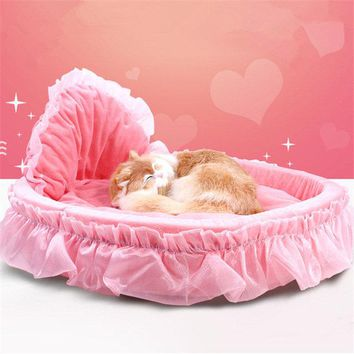 Luxury Princess Cat Bed Puppy Bed Sofa Purple Pink Lace Cat House Small Dog Kennel Warm Soft
