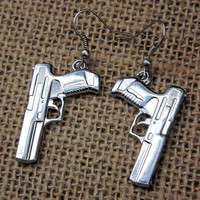 Silver Tone Pistol Earrings- Gun Earrings for country hunting camo girls- Military police gift, Bullet jewelry, bullet earrings, western