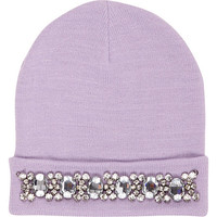 River Island Womens Lilac embellished beanie hat