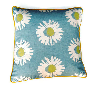 "Cushion, throw pillow, home decor, 18 x 18 inches Clarke and Clarke "" Capri "", daisies,  light blue, cream and yellow cotton."