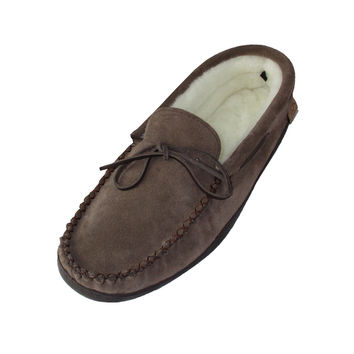 Men's Sheepskin Lined Rubber Sole Suede Moccasin Shoes - KB805