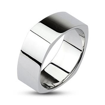 Smooth Corners - Mirror polished silver stainless steel square couples ring