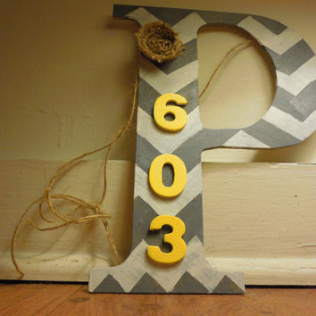 Chevron Monogram Door Hanger Decoration with Address (Order now on Etsy/Color options available)