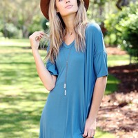 Midnight Teal PIKO V-Neck Pocket Tee Dress
