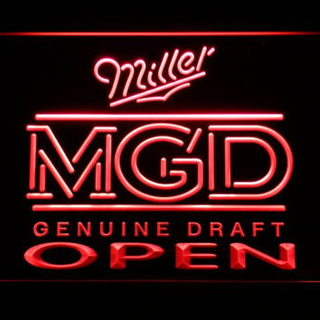 Miller MGD Beer OPEN Bar LED Neon Sign with On/Off Switch 7 Colors to choose