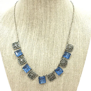 Art Deco Crystal Necklace, Rhodium Silver Filigree Necklace, Princess Cut Blue Crystals, 1920s, Bridal Wedding Vintage Antique Jewelry