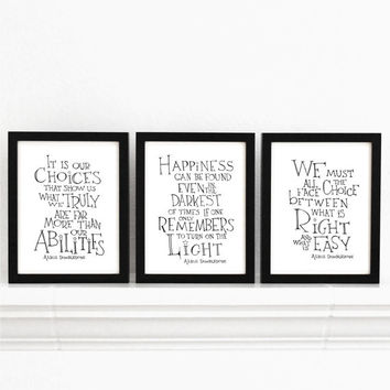 Set of 3 - Harry Potter movie quote posters, typographic print, black and white wall art, Albus Dumbledore quotes wall decor