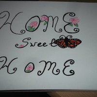 Home Sweet Home Alabama Acrylic Painting with Monarch Butterfly and Pink Camellia Flowers