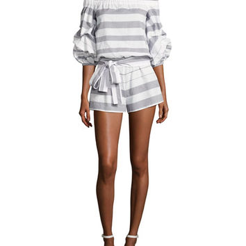 Alexis North Off-the-Shoulder Striped Poplin Romper, Blue/White