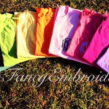 SALE!!! Comfort colors shirt, monogrammed comfort colors shirt, monogrammed comfort colors pocket tee short sleeve, short sleeve pocket