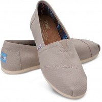 TOMS Light Grey Canvas Women's Classics Slip-On Shoes,