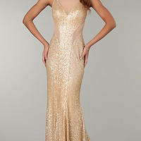 Open Back Sequin Gown by Faviana