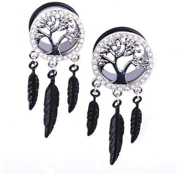 ac PEAPO2Q 1pc Stainless Steel Pendant Ear Expansion Peace Tree Piercing Jewelry Ear Plugs And Tunnels 8-20 mm Body Piercing For Men Women