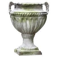 "18"" Fluted and Beaded Urn, White Moss, Outdoor Urns, Planters & Jardinieres"