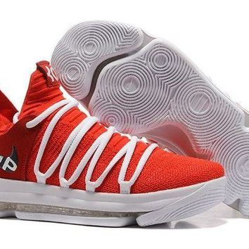 DCCKL8A Jacklish Supreme X Nike Kd 10 Ep University Red White Basketball Shoes For Sale