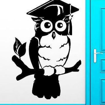 Wall Sticker Owl Birds Smart Wise College Graduation Decor Living Room Unique Gift (z2528)