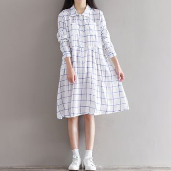 LOOSE LARGE SIZE FEMALE LONG SLEEVE COTTON AND LINEN DRESS IN THE LONG SECTION