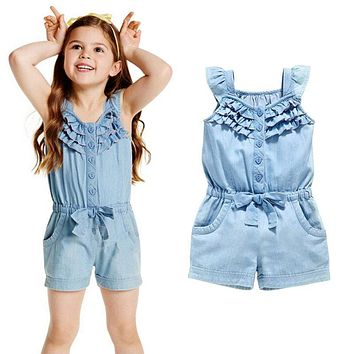 Kids Girls Clothing Rompers Denim Blue Cotton Washed Jeans Sleeveless Bow Jumpsuit