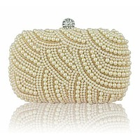Luxury Crystal & Pearlized Day Clutch Evening Bag