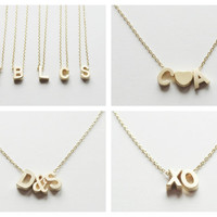 Gold Initial Necklace. Initial Necklace. Personalized Necklace. Personalized Jewelry. Bridesmaids Jewelry.