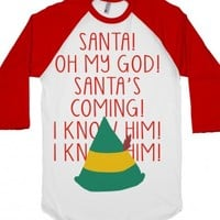 Elf - I KNOW HIM-Unisex White/Red T-Shirt
