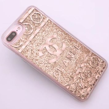 CHANEL New iPhone8 Mobile Shell 7plus Beads Soft Edge Diamond Phone Case F0287-1 gold