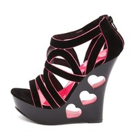 Heart Cutout Velvet Strappy Wedge: Charlotte Russe