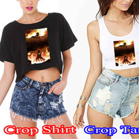 Attack on titan poster Donten 6e123996-d59d-4bba-bf05-a1c50c80b7f4 For Crop Shirt and Crop Tank Sexy Shirt Women S, M, L, XL, 2XL*02*
