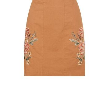 Tan Floral Embroidered Mini Skirt | New Look
