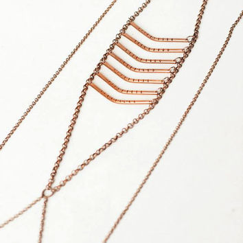 Hand-made copper body chain boho ethnic style