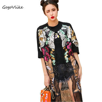 Perspective Sequin lace spliced cardigan 2017 women summer unique thin animal print coat cartoon leopard outwear LT396S15