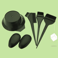 5Pcs Hairdressing Brushes Bowl Combo Salon Hair Color Dye Tint Tool Set Kit Fashion Hair Tools (Color: Black)