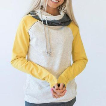 Yellow Color Block Hoodies