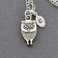 Initial Necklace Silver owl Charm, Personalized Initial Necklace woodland, owl necklace, silver owl, cute, monogram