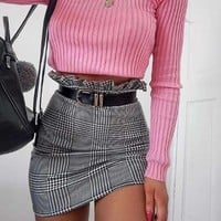Plaid Ruffle Skirt