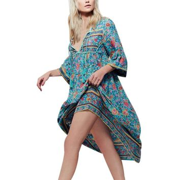 2017 Boho Style Women Floral Print Long Sleeve Mid-calf Summer Dress Ladies Deep V Neck Evening Party Beach Dress Plus Size #23
