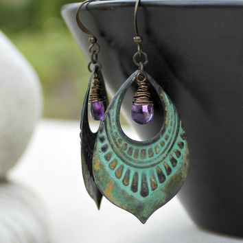 Amethyst and Patina Bohemian Chandelier Earrings