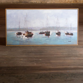 Oil Painting - Boats in The Bay