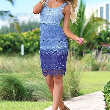BLUE MULTI Ombre crochet dress, peep toe heel from VENUS