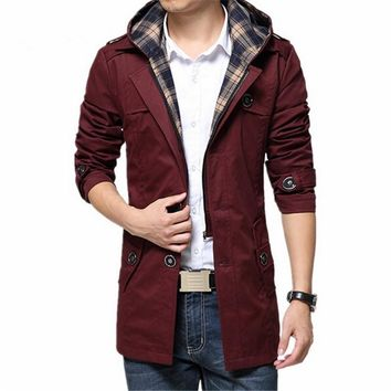 New spring Trench Coat Men hooded Trench Coat Men Outerwear Casual Coat Men's Jackets Windbreaker Mens Trench Coat