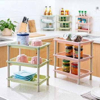1pc Kitchen Shelf Living Room Multi-layer Finishing Frame Bathroom Table Cosmetics Storage Rack Wall Holder Kitchen Holder