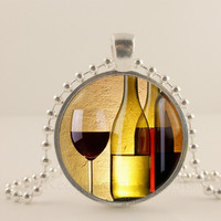 "Wine bottle and glasses,  1"" glass and metal Pendant necklace Jewelry."