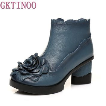 2017 Flower Genuine Leather Boots Women Vintage Thick Heel Women Shoes Fall Winter National Ankle Boots Size 40