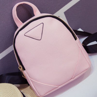 Shoulder bag new college style bag pu leather simple leisure travel small backpack ladies bag