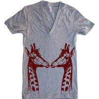 Mens / Unisex GIRAFFES Deep V Neck T Shirt - american apparel - XS S M L XL (15 Color Options)