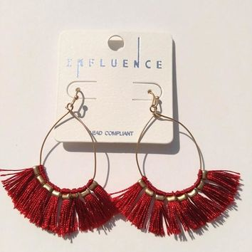 Thread Tassel Earrings - Deep Red